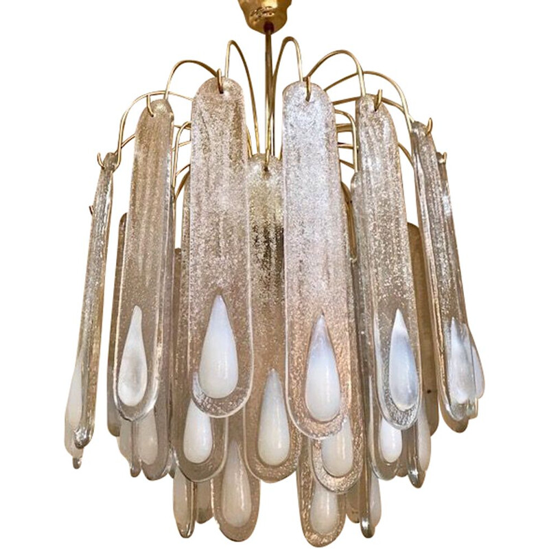 Vintage opaline and Murano glass chandelier by Mazzega, 1960