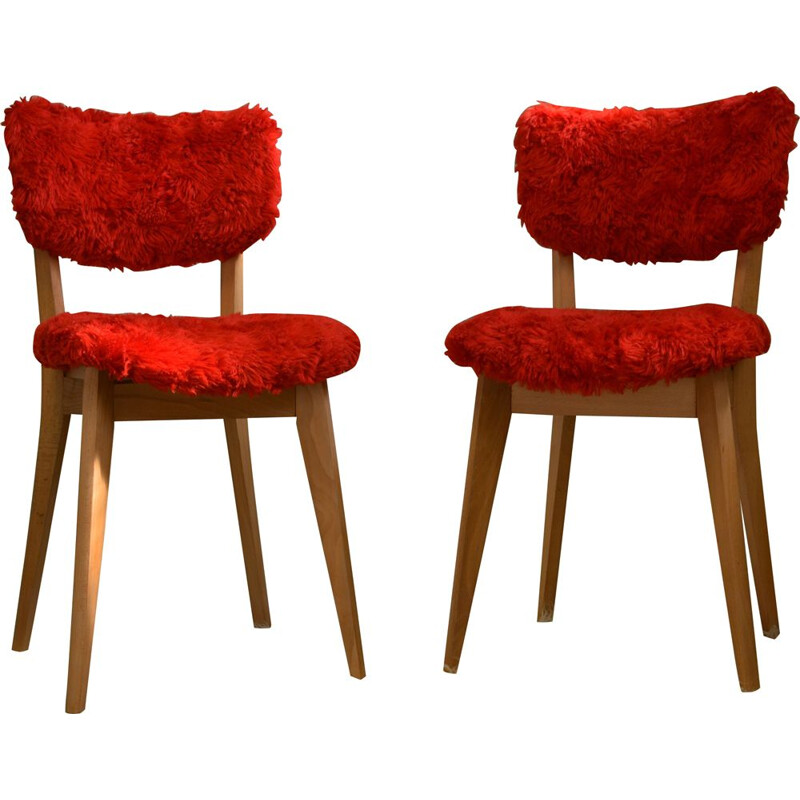 Set of 2 vintage chairs in mould and beech wood