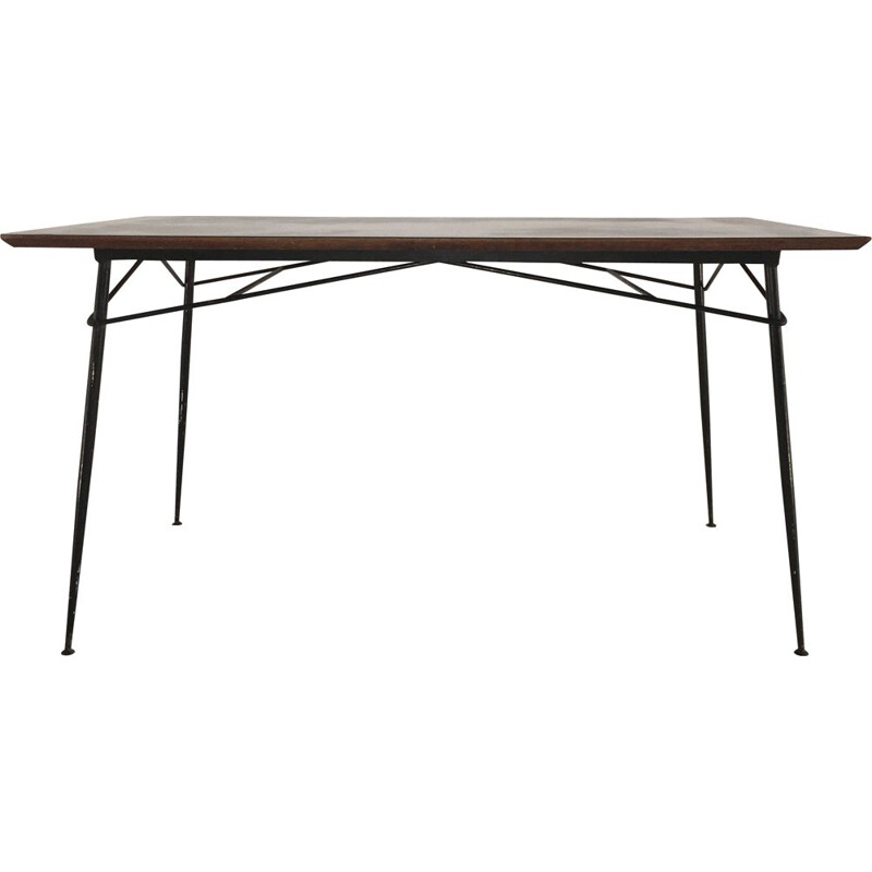 Vintage iron dining table by Henri Lancel