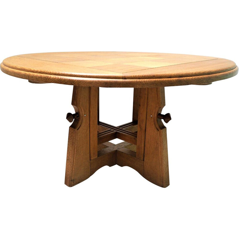 "Vintage dining table ""Monte et Baisse"" in oak by Guillerme Chambron"