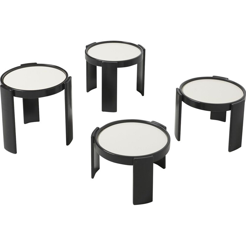 Set of 4 vintage black wood coffee table by Gianfranco Frattini from Cassina, 1966