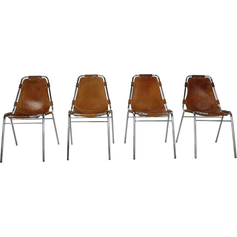 """Set of 4 vintage leather """"Les Arcs"""" chairs by Charlotte Perriand, France, 1970s"""
