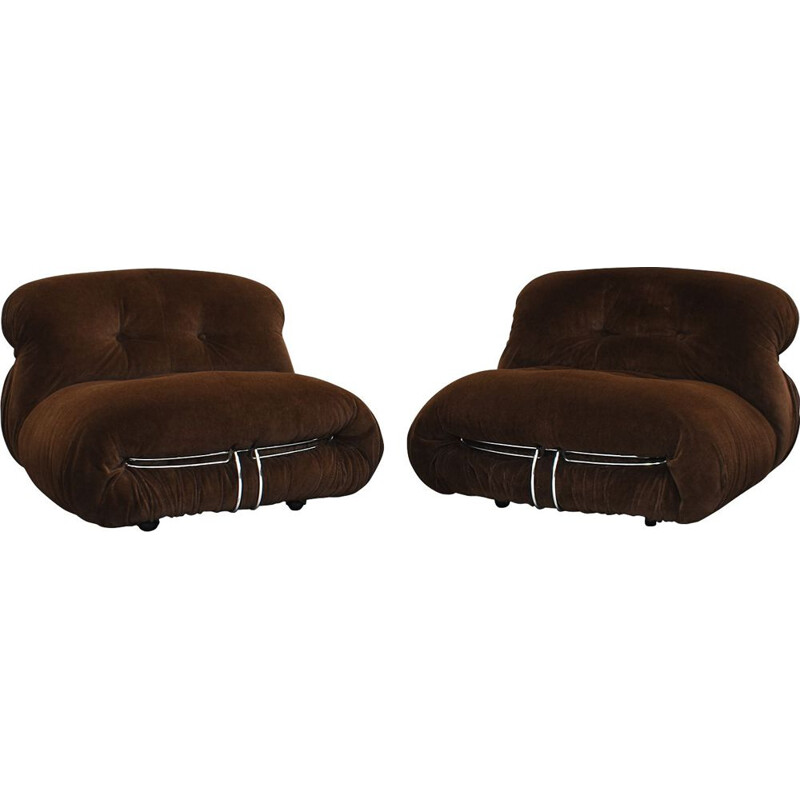 "Set of 2 vintage ""Soriana"" armchairs by Afra & Tobia Scarpa for Cassina, Italy, 1970s"