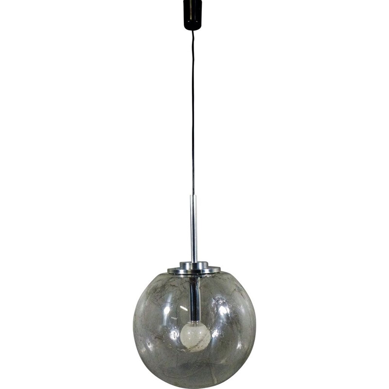 Vintage large glass pendant lamp by Doria, Germany, 1960s