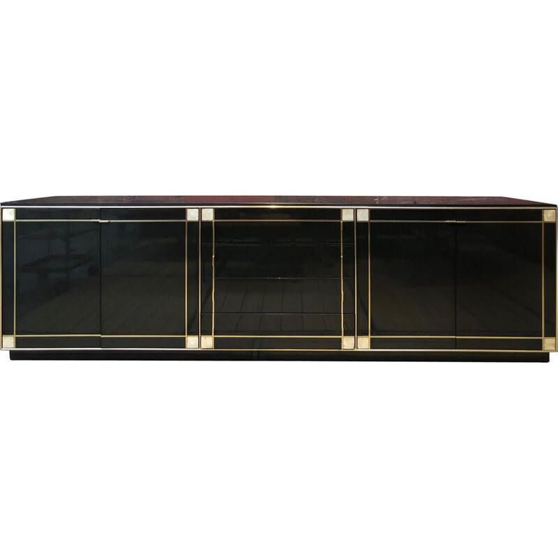 Vintage black laced sideboard for Roche Bobois, 1980s