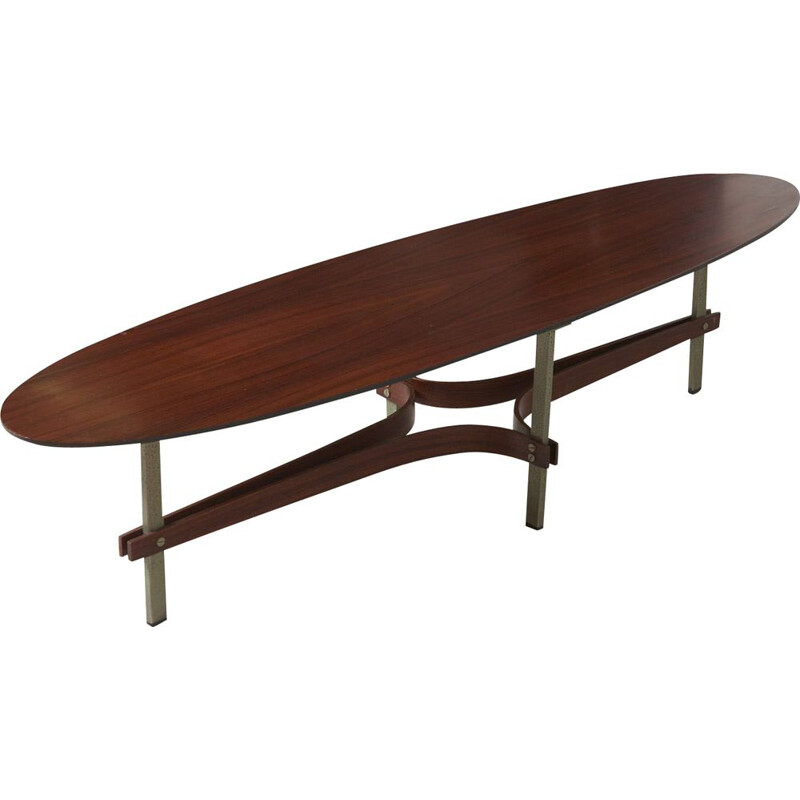 Vintage elliptical rosewood coffee table, Italy, 1960s
