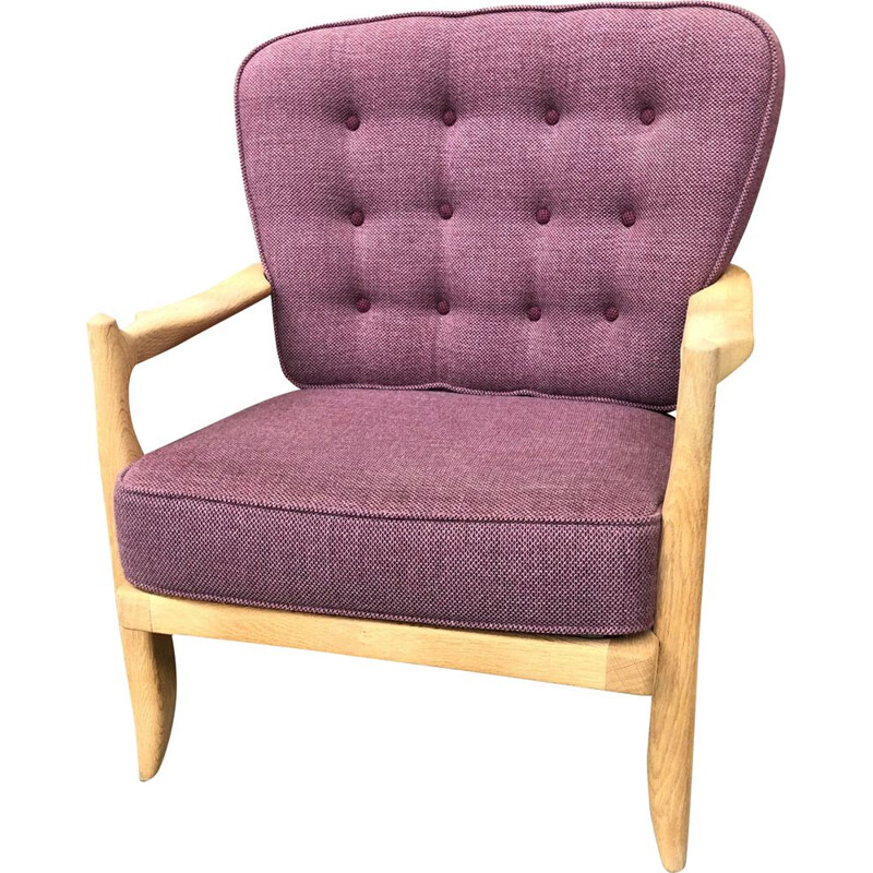 "Vintage purple chair re-upholstered model ""José"" by Guillerme and Chambron 1960"