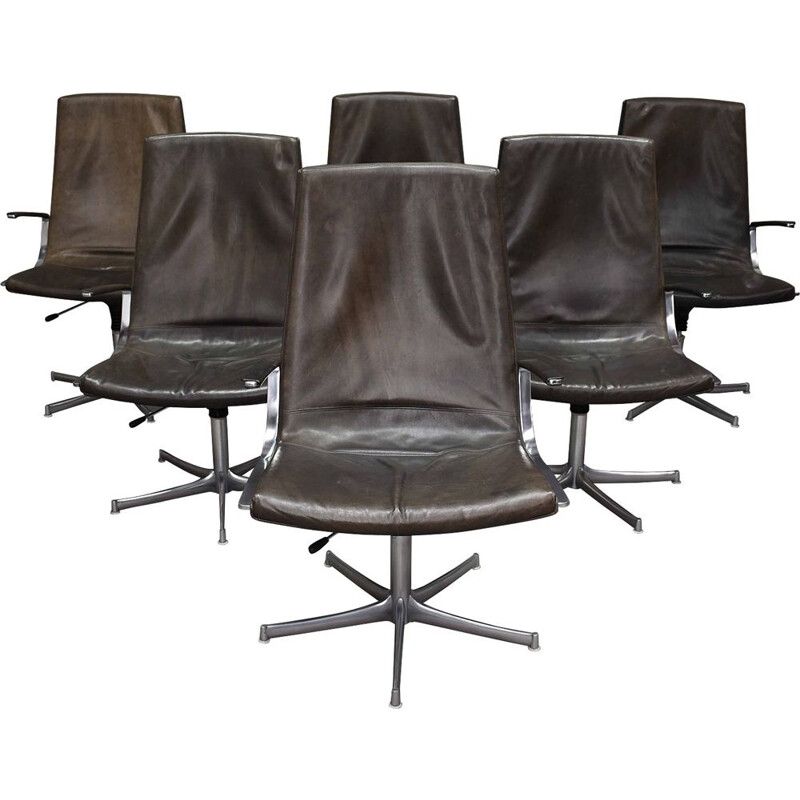 Set of six vintage walter Knoll exclusive conference chairs by Bernd Münzebrock - Germany, 1975