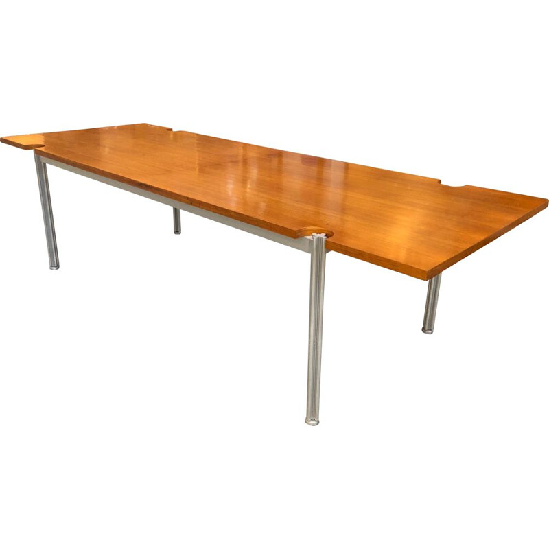 Vintage wooden and aluminium table by Georges Ciancimino 1970