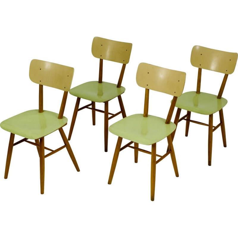 Set of 4 vintage polywood Ton dining chair 1960