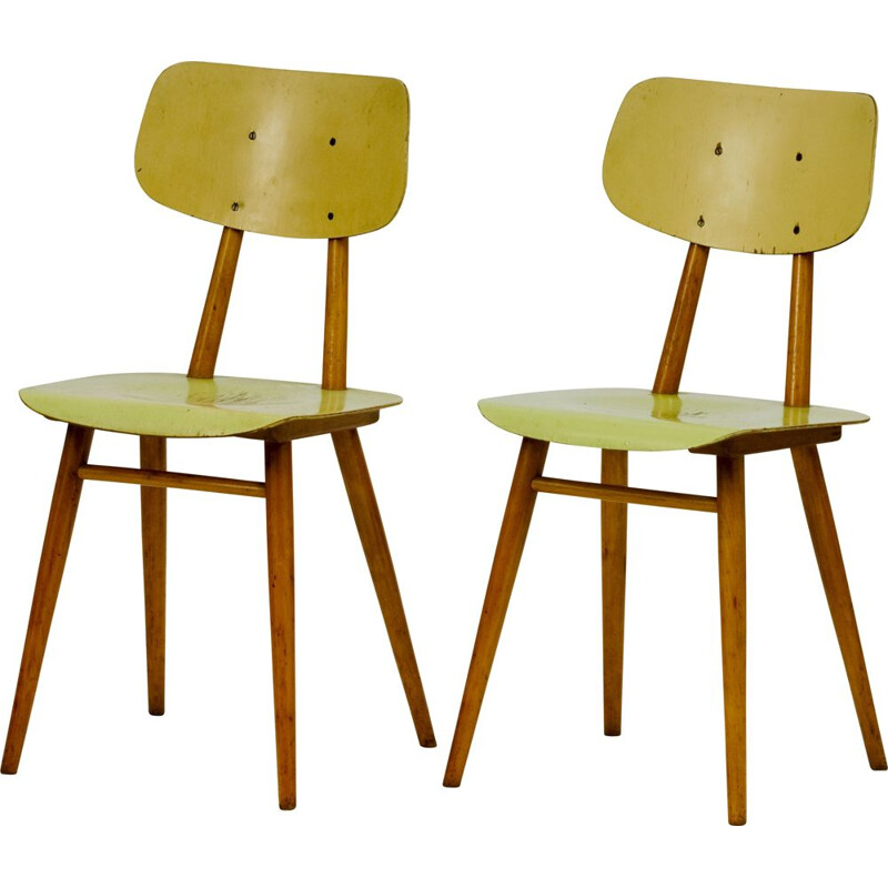 Pair of vintage polywood Ton dining chair 1960