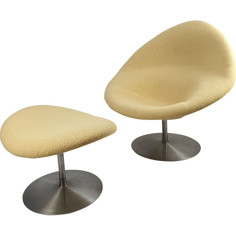 Vintage big globe chair and ottoman by Pierre Paulin for Artifort, 1960