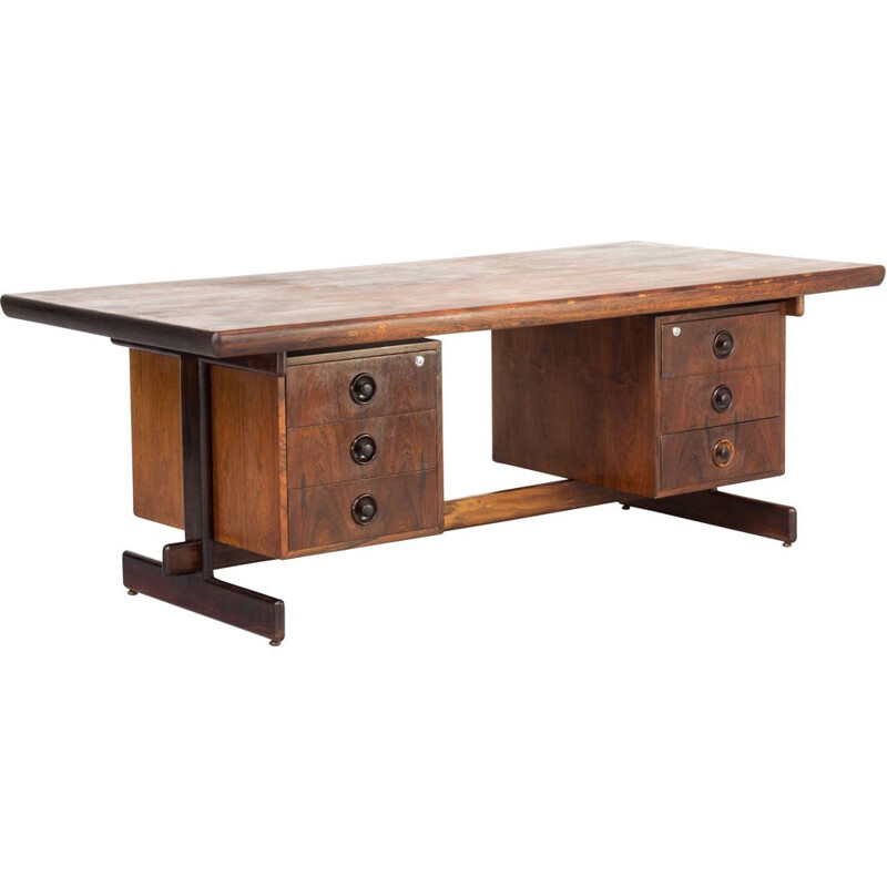 Vintage presidential executive rosewood office desk in the manor of Serge Rodrigues 1960