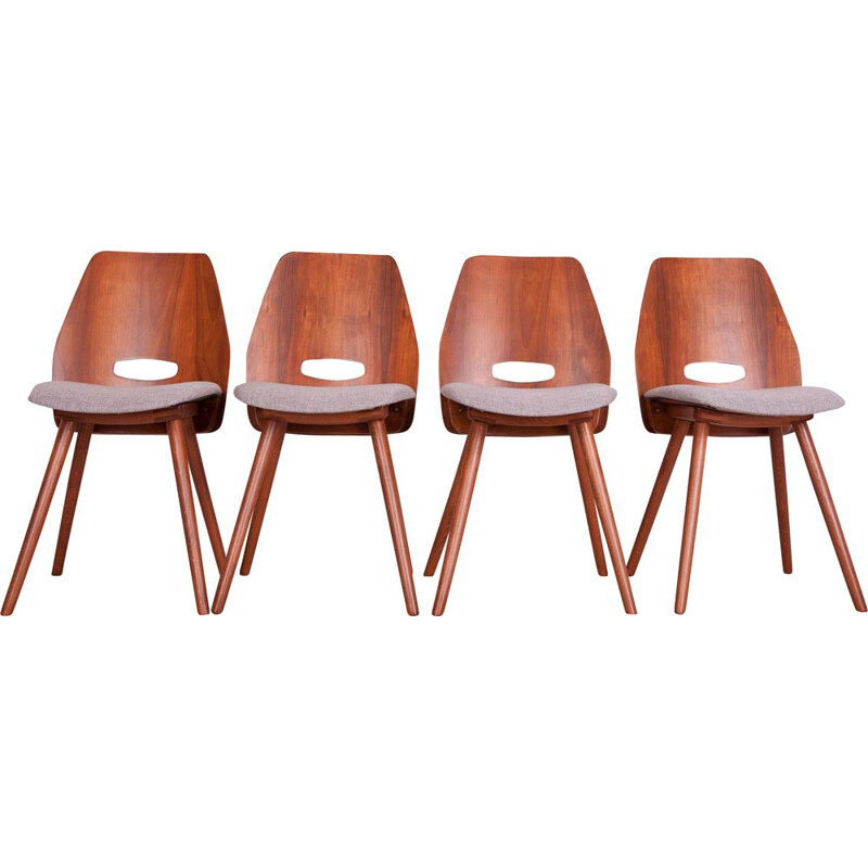 Set of 4 Vintage Czechoslovakian Lollipop Chairs by F. Jirak for Tatra, 1960s