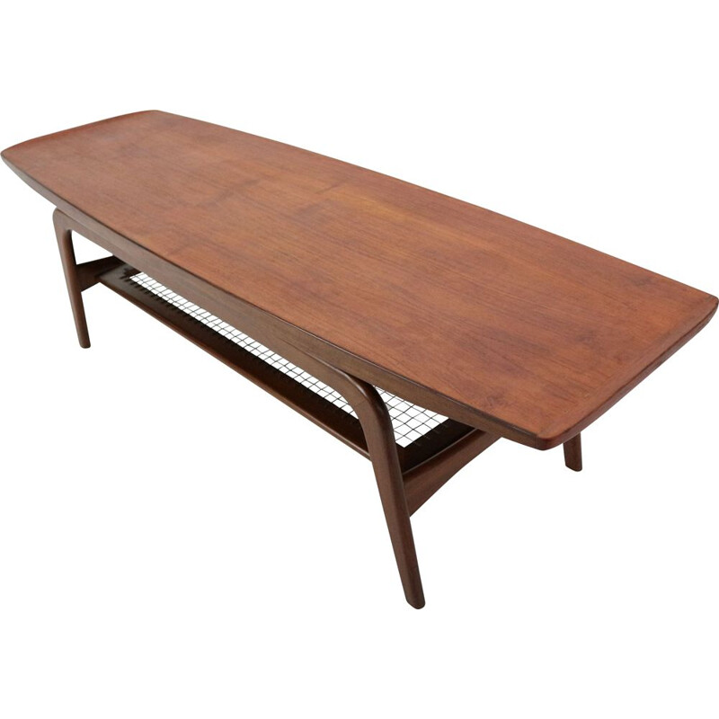 Danish Teak and Wicker Coffee Table by Arne Hovmand-Olsen, 1960