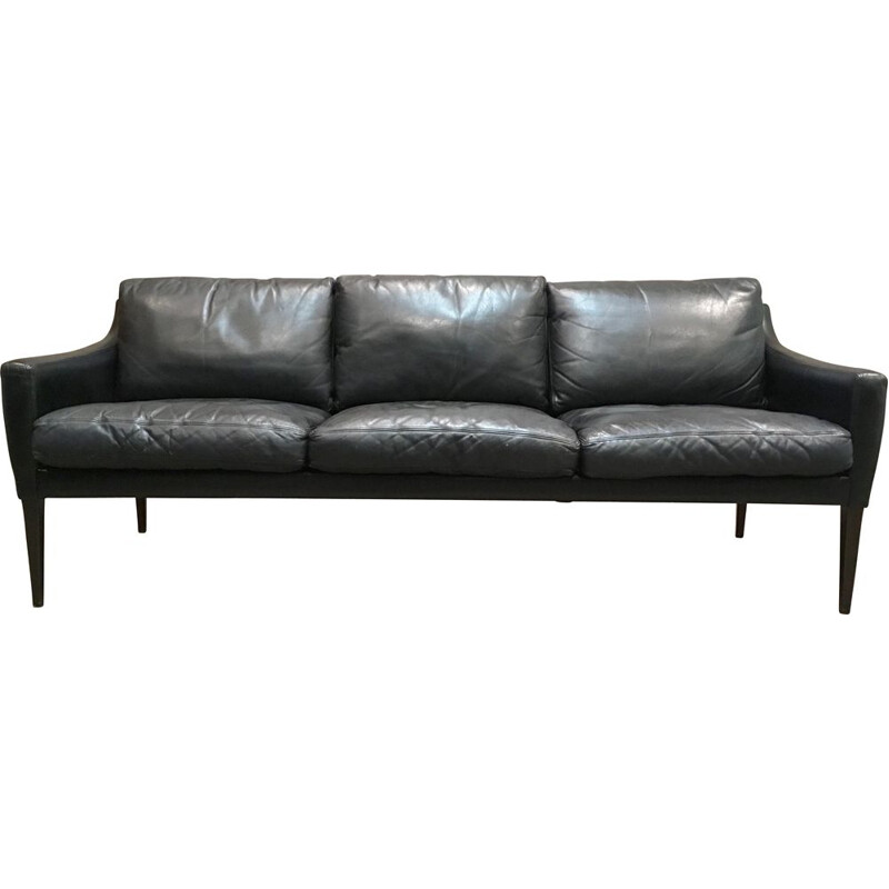 Hans Olsen vintage 3-seater Scandinavian black leather sofa 1950