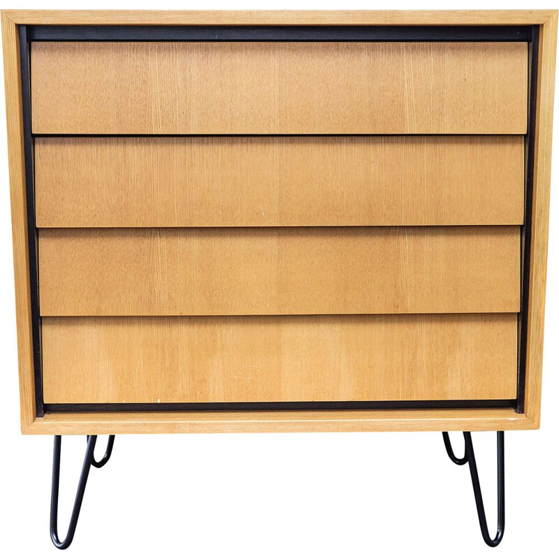 Vintage elm wood chest of drawers by Erich Stratmann for Möbel, 1950s