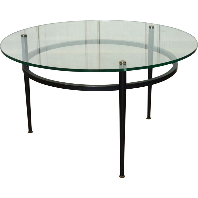 Vintage metal coffee table by Roger Le Bihan, France, 1950s