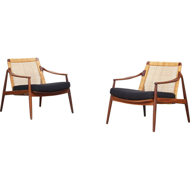 Set of 2 of vintage armchairs by Hartmut Lohmeyer, Wilkhahn, Germany 1960s