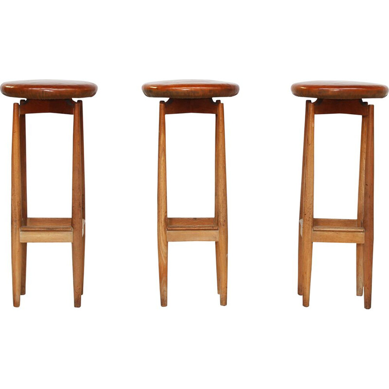 Set of 3 vintage oak bar stools, Denmark, 1960s