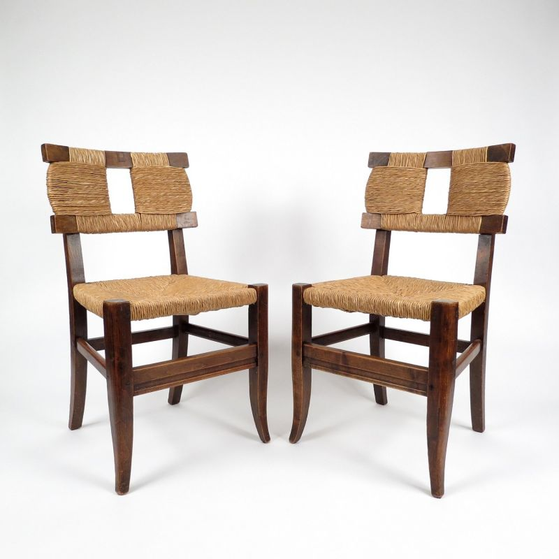 Surprising Set Of 2 French Rustic Vintage Chairs 1940S Ocoug Best Dining Table And Chair Ideas Images Ocougorg