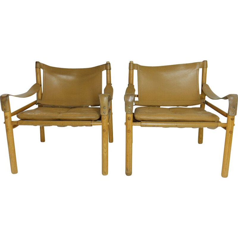 Pair of vintage Sirocco armchairs by Arne Norell, 1965