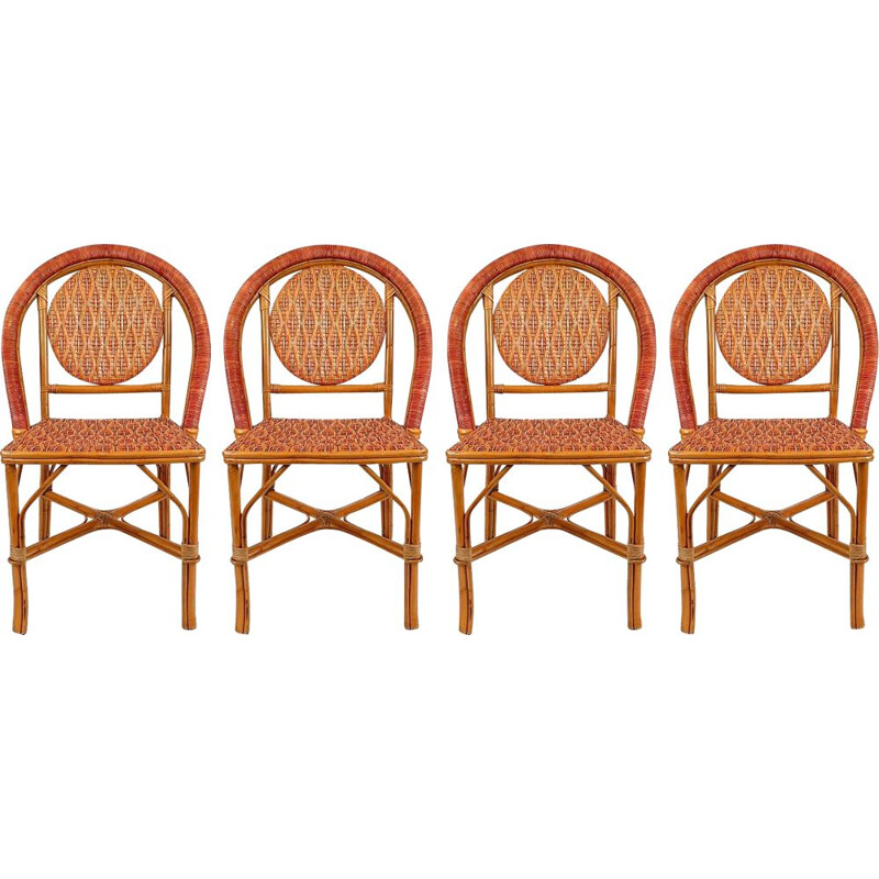 Set of 4 vintage french rattan bistro chairs, 1960s