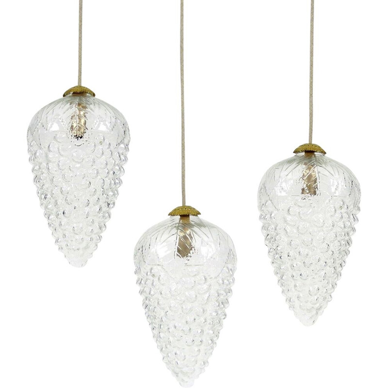 Set of 3 glass and brass pendant lights, 1970s