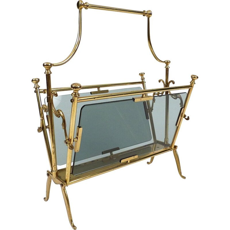 Brass and smoked glass vintage magazine rack from Maison Bagués, 1960s