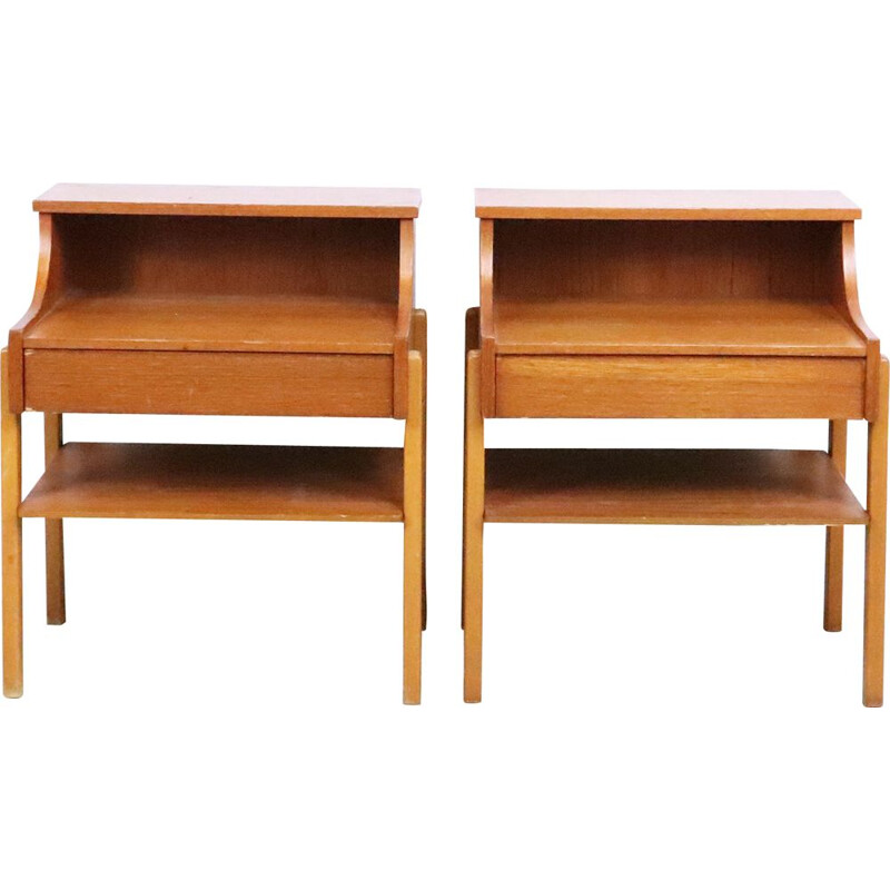 Pair of swedish teak bedside tables, 1960s