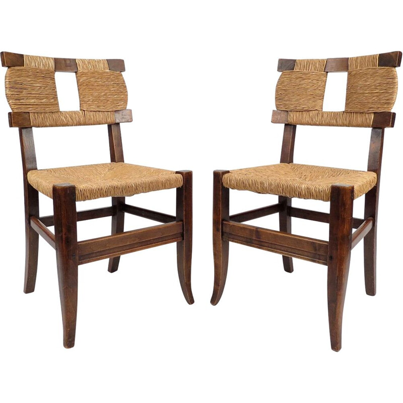 Set of 2 french rustic vintage chairs, 1940s