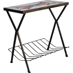 Beautiful vintage magazin rack in metal and ceramic - 1960s