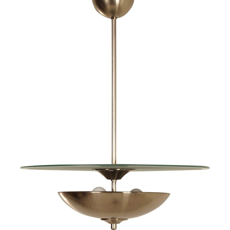 Art Deco vintage pendant light with glass disc, 1930s