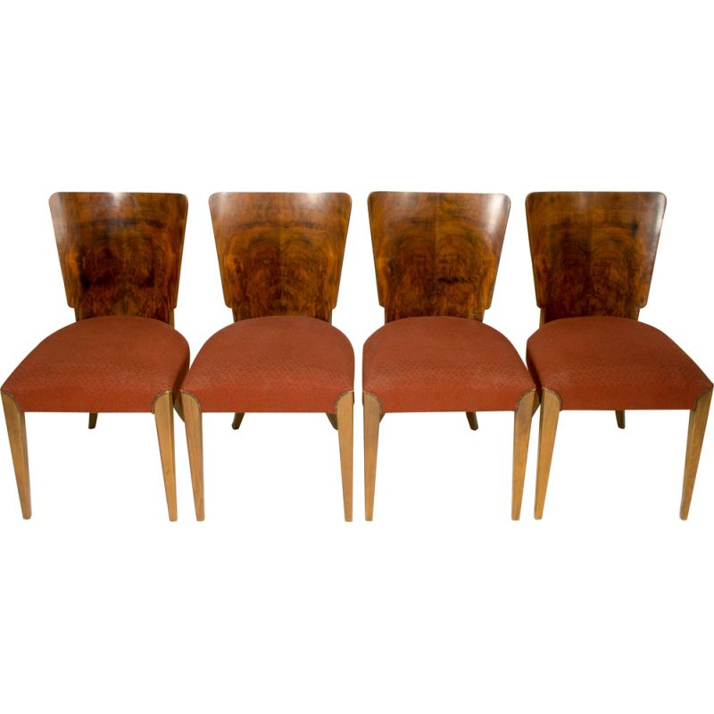 Set of 4 vintage dining chairs H-214 by Jindrich Halabala for UP Závody, 1930s