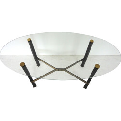 Canasta glass, brass and leather coffee table, Mathieu MATEGOT - 1950s