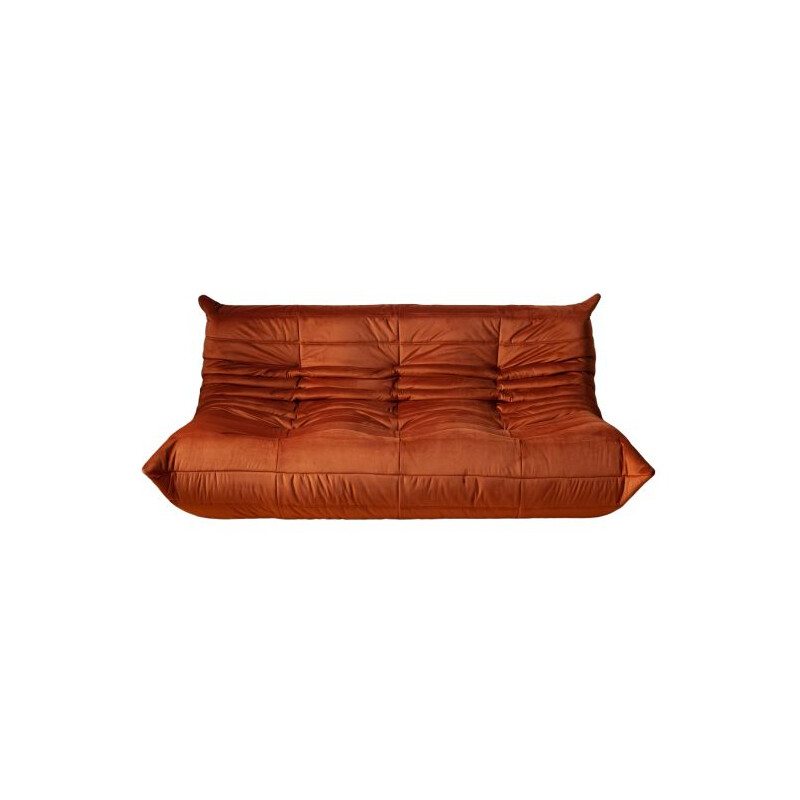 Vintage sofa Togo for Ligne Roset in amber velvet 1970