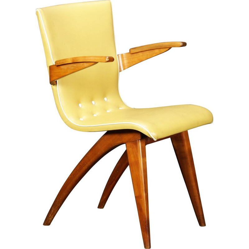 Vintage yellow mahogany and skai chair by C.J. van Os