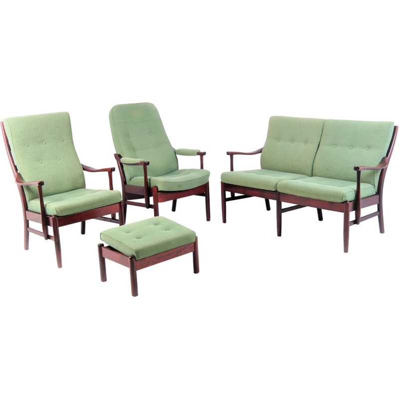 Vintage green lounge set by Farstrup, Denmark, 1990s