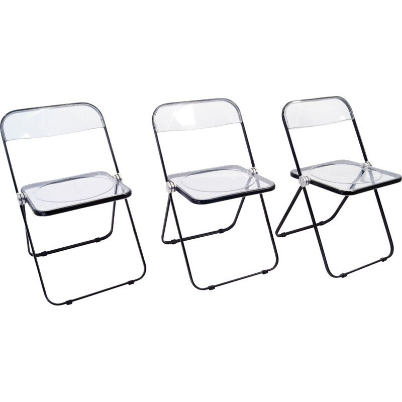Set of 3 vintage chairs by Giancarlo Piretti for Castelli, 1967s