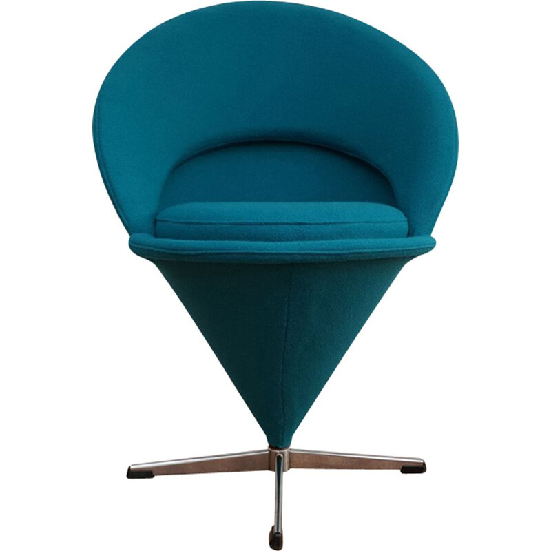 """Vintage turquoise blue """"Cone"""" armchair by Verner Panton, 1970-80s"""