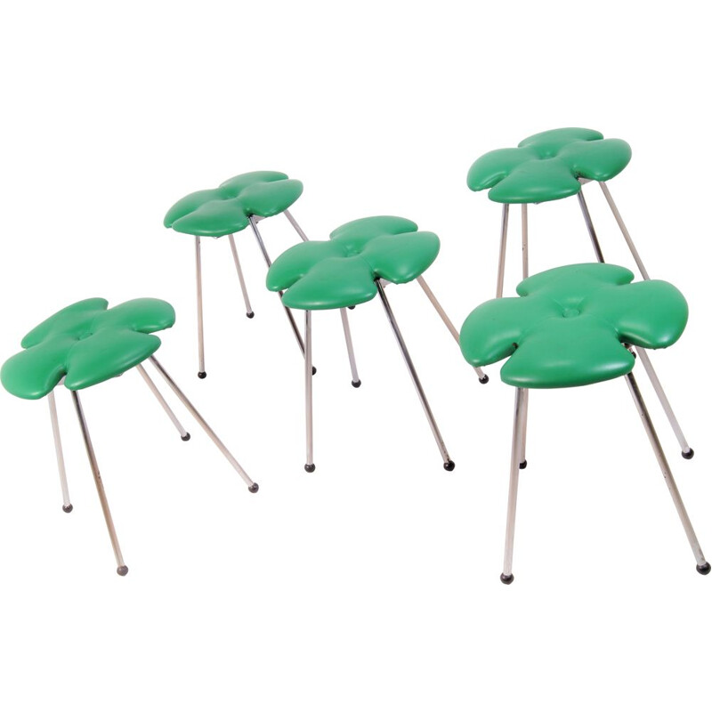"Set of 5 vintage ""4-leafclover"" stools from Effezeta, Italy, 1970s"