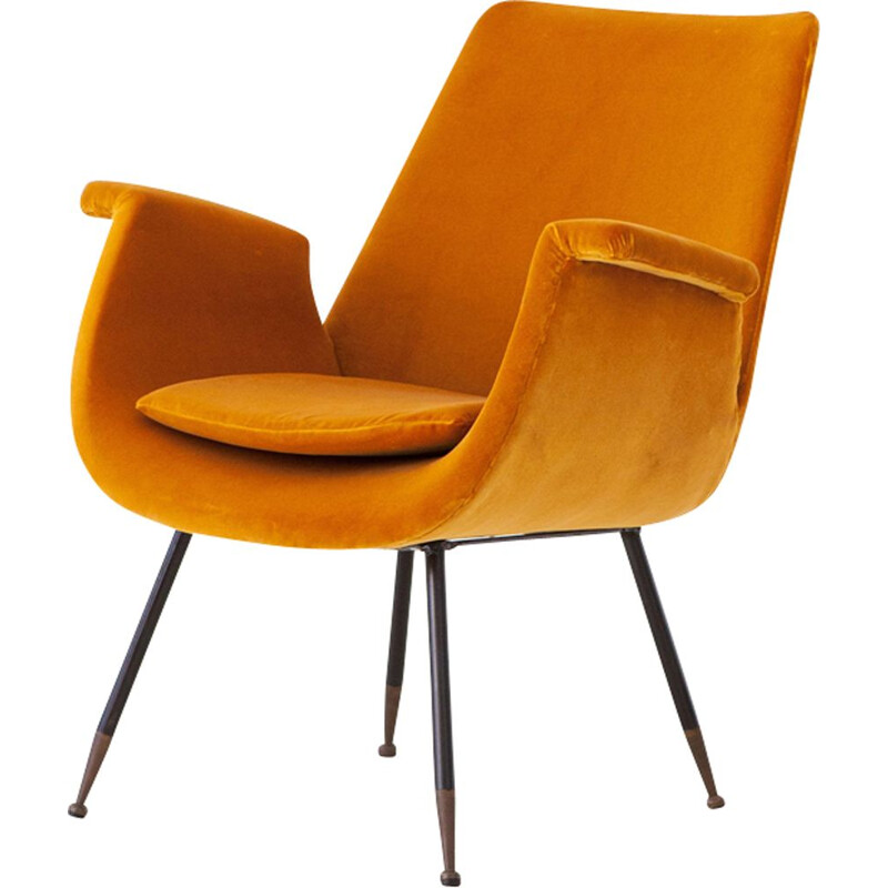 Vintage yellow velvet lounge armchair by Gastone Rinaldi, 1950s