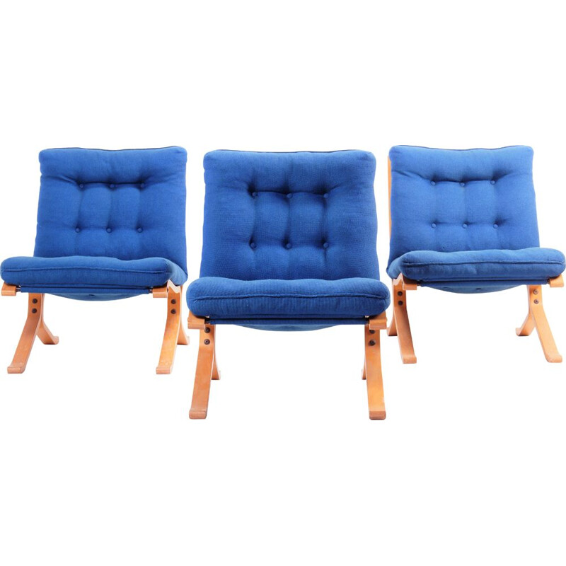 Set of 3 vintage bendwood armchairs, Denmark, 1970s