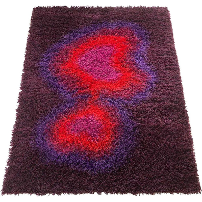 Vintage pile psychedelic rya rug by Ege Taepper Deluxe, 1970s