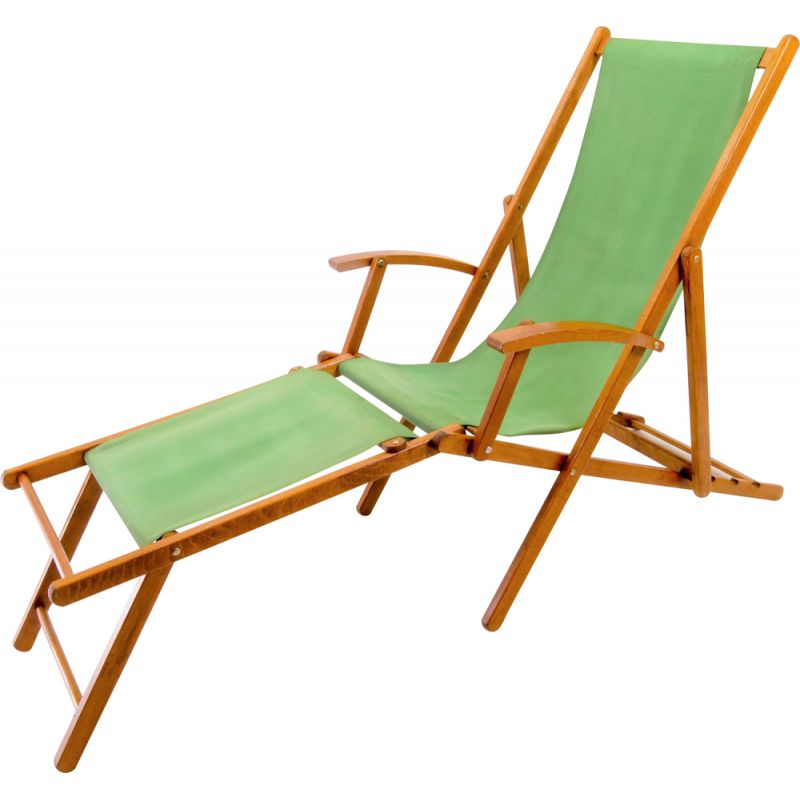 Vintage green cotton and wood lounge chair, 1940s
