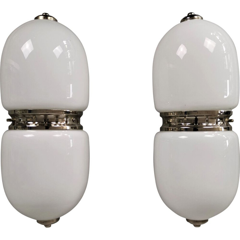Set of 2 vintage wall lights by Carlo Nason for Mazzega. Italy, 1960-70s