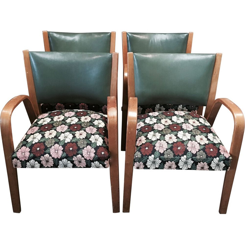 Set of 4 Bow Wood vintage armchair by Steiner, 1950s