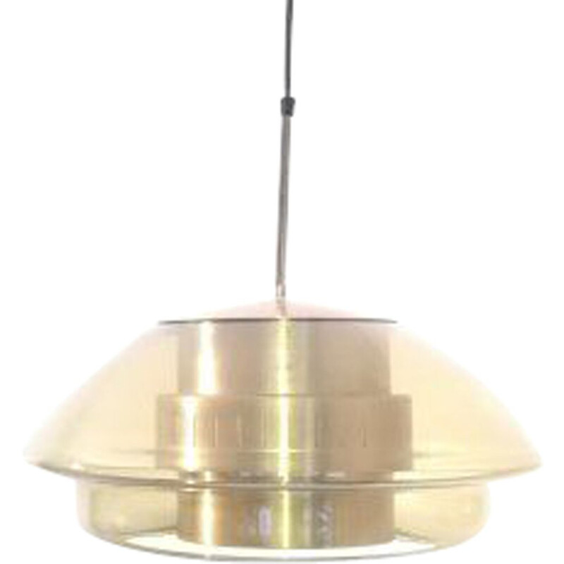 Vintage glass and metal pendant light, 1960