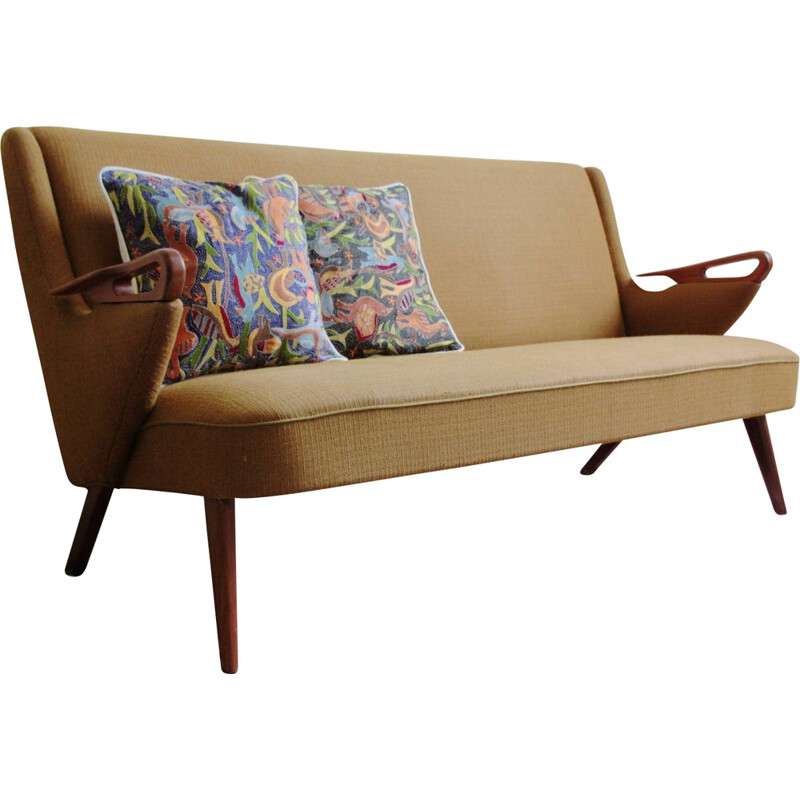 Scandinavian 2 seater sofa in teak and fabric - 1950s