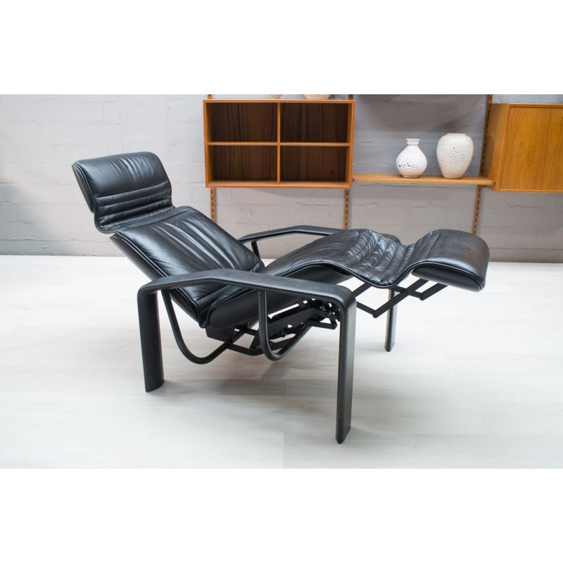 Astounding Vintage Black Leather Lounge Chair 1980S Pabps2019 Chair Design Images Pabps2019Com